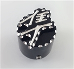 Hayabusa 3D Black/Silver Pocket Engraved Kickstand Center Nut Cover w/Ball Cut Edges
