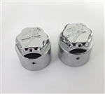 Hayabusa Chrome 3D Hex Engraved & Ball Cut Fork Dampener Caps For Stock/OEM Triple Tree