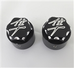 Hayabusa Black/Silver Engraved & Ball Cut 3D Hex Cut Fork Dampener Adjuster Caps For Stock/OEM Triple Tree