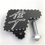 Hayabusa Black/Silver Engraved Kickstand Switch Bolt Cover w/Ball Cut Edges