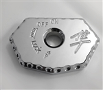08-19 Hayabusa Chrome Engraved Ignition Switch Cover w/Ball Cut Edges