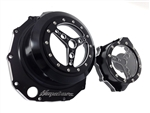 Hayabusa Black/Silver Ring Cut  3D See Through Clutch Cover & Stator Cover Set