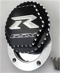 Custom 99-07 Hayabusa GSXR 600/750/1000 Black/Silver Engraved Gas Cap Fuel Lid w/Ball Cut Edges