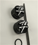 Hayabusa 3D Black And Silver Engraved Front Axle Caps with Smooth Edges