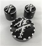 Hayabusa Black/Silver 3D Engraved & Ball Cut Adjuster & Yoke Caps For Stock/OEM Triple Tree