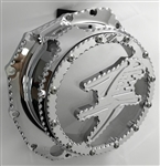 Hayabusa Custom Chrome See Through Clear Huge 3D Logo Ball Cut Clutch Cover
