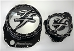 Hayabusa Custom Huge Black/Silver 3D Ball Clutch Clear See Through Clutch Cover & Stator Cover Set