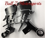 Hayabusa Black Anodized Silver Ball Cut Huge 3D Kanji Rear Passenger Foot Peg Brackets