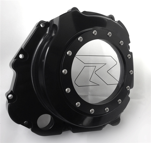 GSXR 600/750/1000 Black Anodized See Through Clutch Cover w/Laser Etching