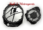 Hayabusa Custom Huge Black/Silver Ball Clutch Clear See Through Clutch Cover & Stator Cover Set