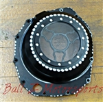 Hayabusa B-King Black/ Silver Contrast (See Through) Clutch Cover w/Logo!