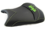 """New Image"" Custom ZX-6R or ZX-10R Front Seat Black Carbon Fiber w/Green Embroidering"
