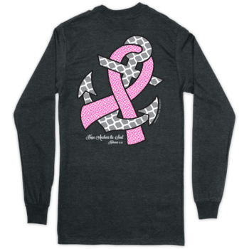 Hope Anchors BC Ribbon w/ Glitter Ink on Long Sleeve - Dark Heather