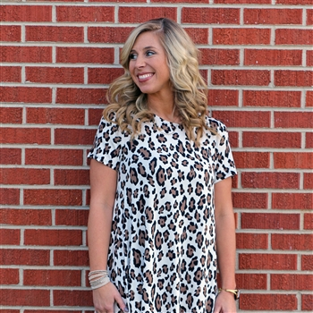 LH Knit Blend Short Sleeve T-Shirt Dress-White Leopard