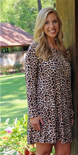 LH Knit Blend Long Sleeve T-Shirt Dress-Solid Leopard