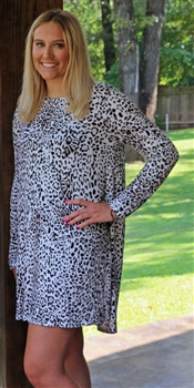 LH Knit Blend Long Sleeve T-Shirt Dress-Grey Cheetah