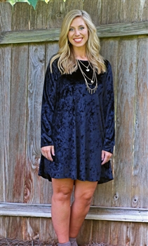 LH Long Sleeve Velvet Dress-Black