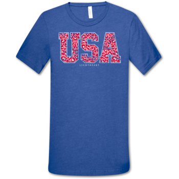 LH Leopard USA front print-Heather True Royal