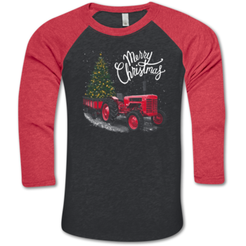 LH Tractor Merry Christmas BB Tee-V. Black/V. Red