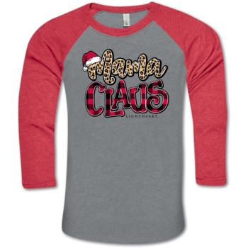 LH Mama Clause BB Tee-Prem. Heather/Vint. Red