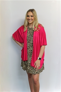 LH Solid Short Sleeve Kimono-Hot Pink