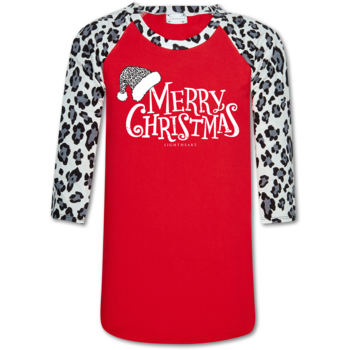 LH Snow Leopard Sleeve/Red Merry Christmas Printed Raglan