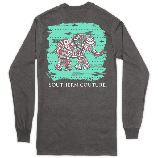 SC Classic Paisley the Elephant on LS - Charcoal