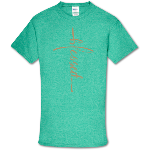 SC Soft Vertical Blessed Front Print-Heather Seafoam
