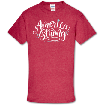 SC Soft America Strong Front Print-Heather Red