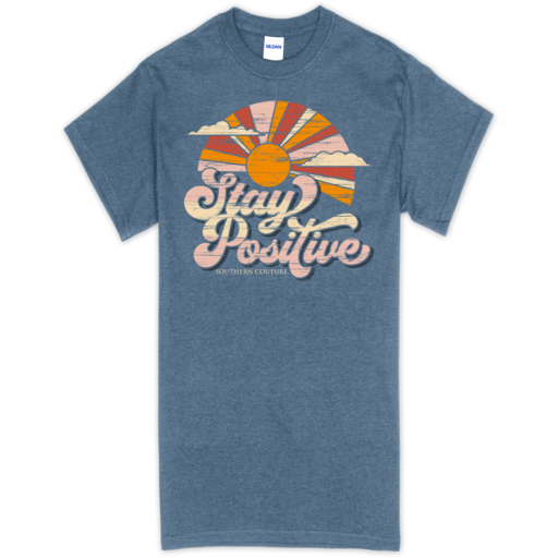 SC Soft Stay Positive Front Print-Heather Indigo