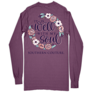 SC Comfort Well With My Soul on Long Sleeve-Berry