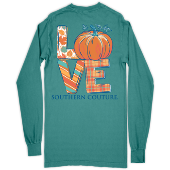 SC Comfort Love Pumpkin on Long Sleeve-Seafoam