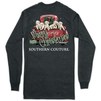 SC Classic Merry Christmas Pups on LS-Dark Heather