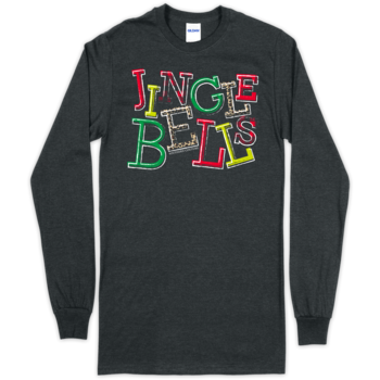 SC Soft Jingle Bells Front Print on LS-Dark Heather