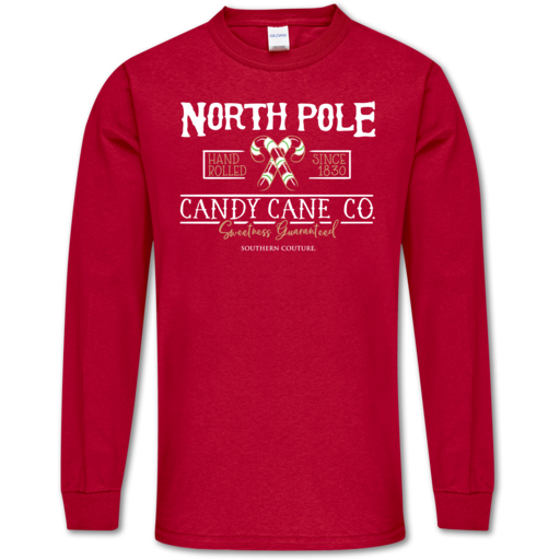 SC Soft North Pole Front Print on LS-Cherry Red