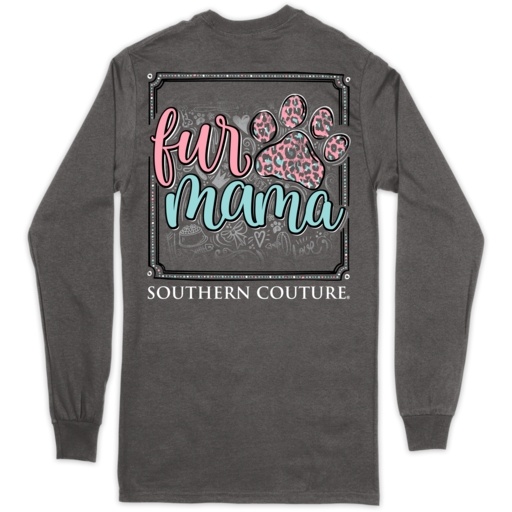 SC Classic Fur Mama Paw in Long Sleeve-Charcoal