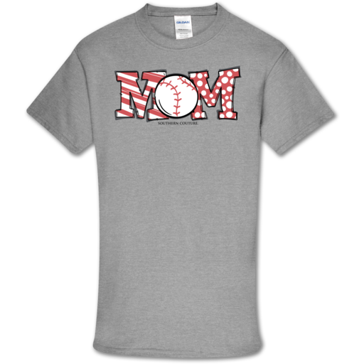 SC Soft Baseball Mom front print-Sport Grey