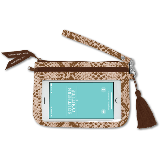 SC Brown Snakeskin Phone Wristlet