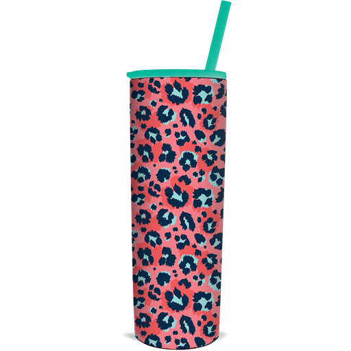 SC Tumbler-The Skinnee-Coral Leopard