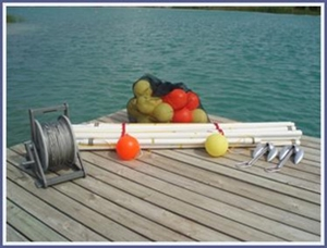 Slalom Course Set - 6 Buoy Vinyl Coated Stainless Steel Mainline