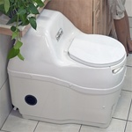 Compact self contained composting toilet by Sun-Mar