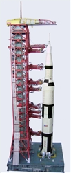 Launch Umbilical Tower (LUT) and MLP Model Kit in 1:100 scale for  Estes, Dragon 4D Vision or any 100 Saturn V Model.  The unbuilt heavy paper model has won accolades around the world since 2006 for its accuracy and realism and is designed to bear loads.