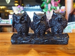 HANDMADE RESIN 3 WISE OWLS