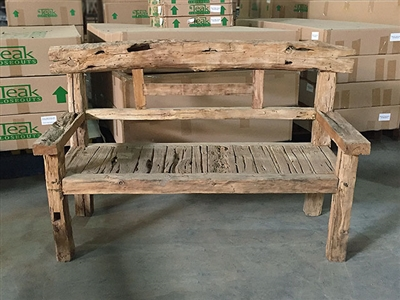 "170cm/67"" Mutt Recycled Teak Bench #0041"