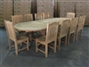 Eden Oval Double Extension Teak Table 200cm Regular To 300cm w/ Extension x 120cm Width Set w/ 10 Menika Dining Chair