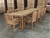 "Reclaimed 142"" Teak Table SET #000250 w/ 10 Manchester Arm Chairs"