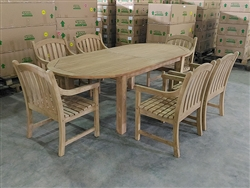 Adella Oval Table w/ 6 Sulawesi Arm Chairs