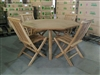 "51"" Aurora Octagon Teak Table Set w/ 4 Shelia Classic Folding Chairs Rustic"
