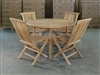 "43"" Aurora Round Teak Table w/ 4 Shelia Premium Folding Chairs"