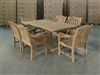 Bima Teak Rectangle Table 180 x 100cm Set w/ 6 Sulawesi Arm Chairs Rustic